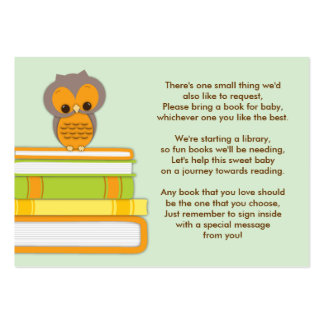 Orange Owl Baby Shower Book Insert Request Card Large Business Cards (Pack Of 100)