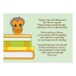 Orange Owl Baby Shower Book Insert Request Card Business Card