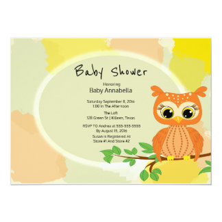 Orange Owl Baby Shower Card