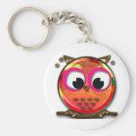 Orange owl basic round button keychain