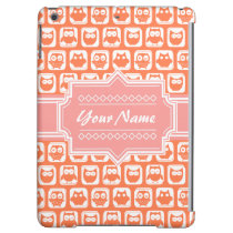 Orange Owl Coral Personalized Name Cover For iPad Air