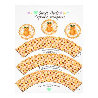 Orange owl Cupcake wrappers and toppers Letterhead