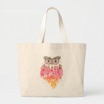 Orange Owl Dream to catcher Large Tote Bag