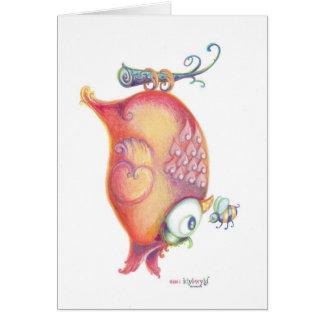 Orange owl greeting card with bumble bee