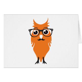 Orange Owl Hipster Card