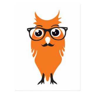 Orange Owl Hipster Postcard