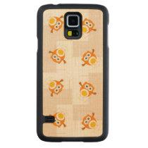 Orange Owl Illustration Pattern Carved Maple Galaxy S5 Slim Case