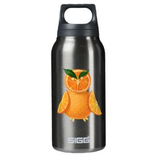 Orange owl insulated water bottle