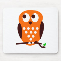 Orange Owl Mouse Pad