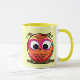 Orange owl mug