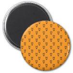 Orange owl pattern 2 inch round magnet