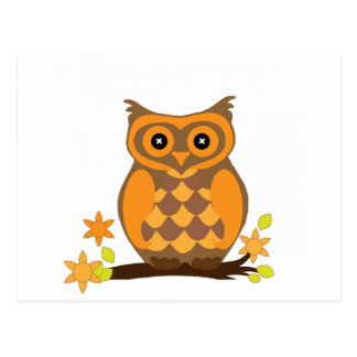Orange Owl Perched With Flowers Postcard