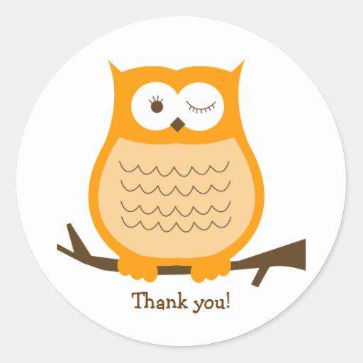 ORANGE OWL Round Favor Sticker | Envelope Seal