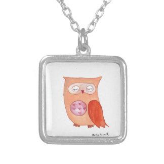 Orange owl square pendant necklace