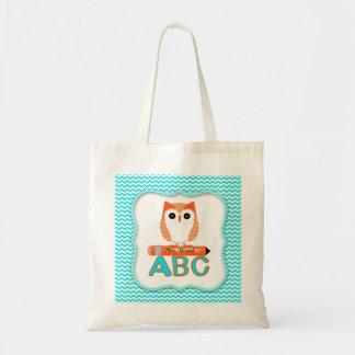 Orange Owl Teacher Bag Chevron Print