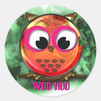 Orange owl woo hoo design stickers