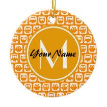 Orange Owls Custom Monogram Ceramic Ornament