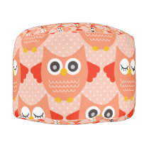 Orange Owls Pouf