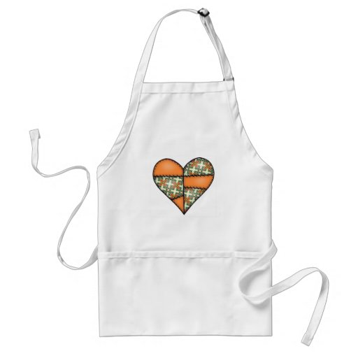 Orange Padded Quilted Stitched Heart 01 Adult Apron
