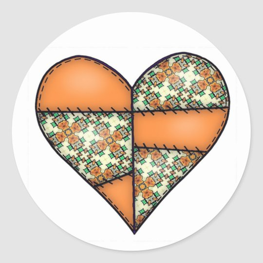 Orange Padded Quilted Stitched Heart 01 Classic Round Sticker