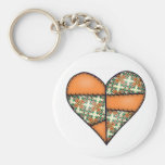 Orange Padded Quilted Stitched Heart 01 Keychains