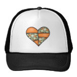 Orange Padded Quilted Stitched Heart 01 Mesh Hat