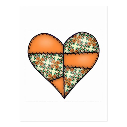 Orange Padded Quilted Stitched Heart 01 Postcard