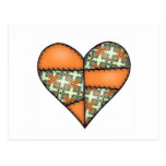 Orange Padded Quilted Stitched Heart 01 Postcards