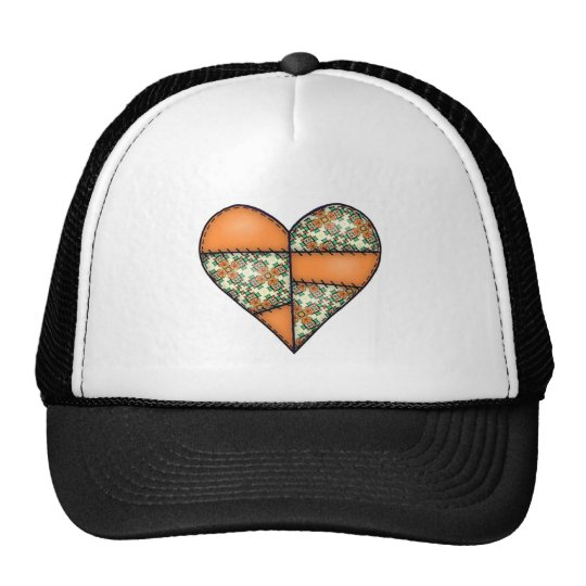 Orange Padded Quilted Stitched Heart 01 Trucker Hat