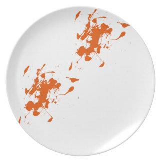 Orange paint splash plate