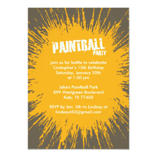 Orange Paintball Splatter Party Invitations