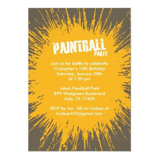 Orange Paintball Splatter Party Invitations