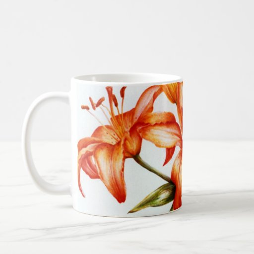 Orange painted fine art lily mug