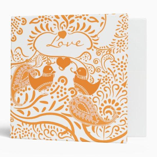 Orange Paisley Love Birds Binder
