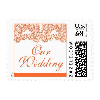 Orange Paisley Our Wedding Postage Stamps