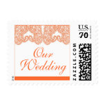 Orange Paisley Our Wedding Postage Stamps