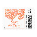 Orange Paisley Save the Date Postcard Stamps