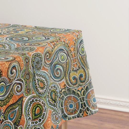 Orange Paisley Tablecloth
