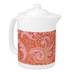 Orange Paisley Teapot