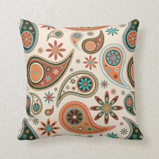 Orange Paisley Throw Pillow