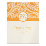 Orange Paisley Wedding Thank You Cards