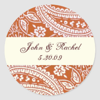 Orange Paisley with names and date Classic Round Sticker