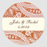 Orange Paisley with names and date Stickers