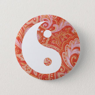Orange Paisley Yin and Yang Button