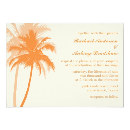 Orange Palm Trees Tropical Wedding 5x7 Paper Invitation Card