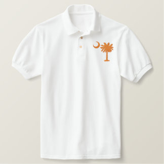 Orange Palmetto Moon Embroidered Shirt