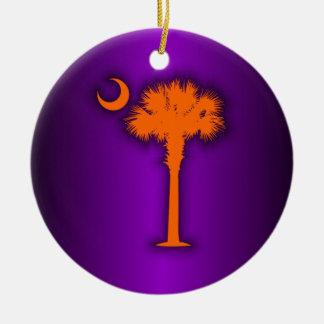 Orange Palmetto Double-Sided Ceramic Round Christmas Ornament