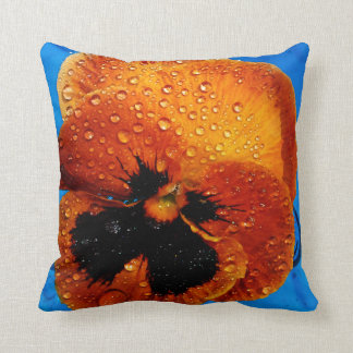 Orange Pansy With Dew Drops Throw Pillow