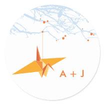 Orange Paper Crane   Tree Wedding Sticker