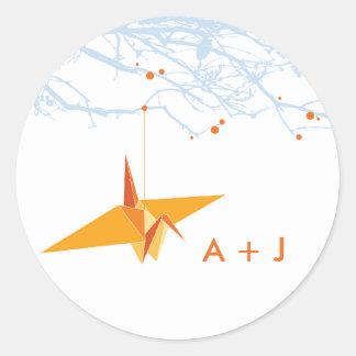 Orange Paper Crane + Tree Wedding Sticker